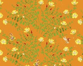 Heather Ross, BRIAR ROSE for Windham Fabric, Nanny Bee in Orange, 11 X 44 inches