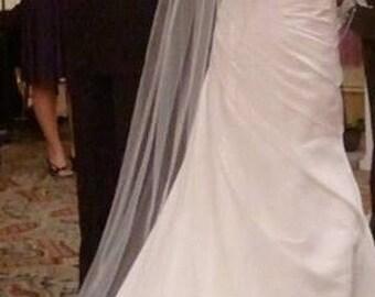 Straight Floor length Wedding Bridal Veil 90 inches white, ivory or diamond