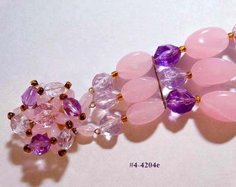 FREE SHIP West Germany Pink And Amethyst Beaded Bracelet (4-4204)