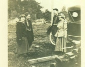 1920s Getting Ready to Build House Home Couples Standing on Lot with Wood Bundles Car 1920s Vintage Photo Black and White Photograph
