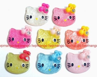 24pc Kitty Resin Cabochon with Rhinestone...DIY...Flat Back...Sparkle...Pink...Hair Bow...N100