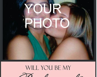 Custom Bridesmaid Modern Large Photo 3x5 Wine Label - Will you be my Bridesmaid - Personalized Labels