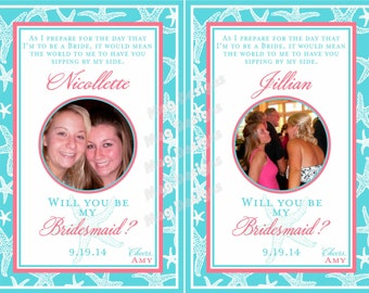 Will you be my Bridesmaid Wine Labels - Starfish Bridesmaid and Maid of Honor Wine Labels for Wine Bottles for your Wedding Party - 7 Labels