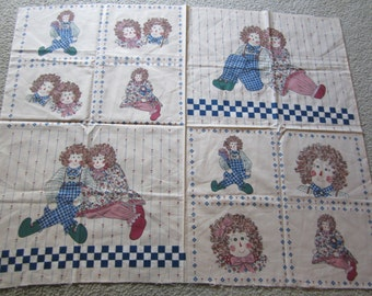 Rare RAGGEDY Kids HEARTS Fabric Panel Wall Hanging QUILT Dolls or Pillows