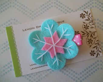 Snowflake Felt Hair Clip-Light Turquoise Blue, Pink, and White Felt Snowflake Clippie-No Slip-FREE SHIPPING on 25 dollar orders