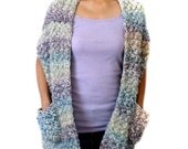 Cozy Shawl Wrap with Pockets - PDF Crochet Pattern - Instant Download