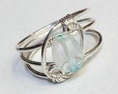 March Birthstone  March Birthday   Aquamarine Ring   Aquamarine Jewelry Sterling  Silver Rings for Women  Silver Ring Rings  Sterling Silver