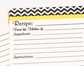 Chevron  Recipe cards Black and white zig zag yellow Printable- DIY cards- INSTANT DOWNLOAD Pdf
