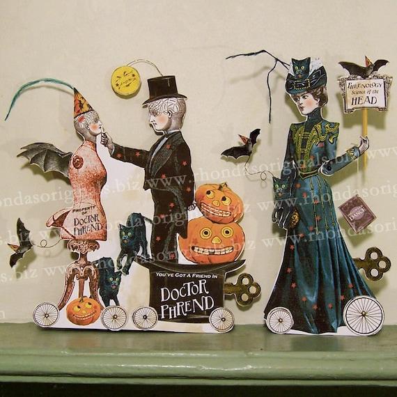 Digital Steampunk Halloween Phrenologist Bat Man Paper Doll INSTANT Download - Printable Vintage Phrenology Pumpkin Bat Altered Art HP24D