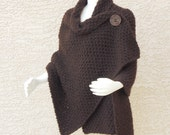 Hand Knit Shawl, Wrap, Knit Cape, Knitted Poncho Chuncky,Dark Brown Plus Sizes Available