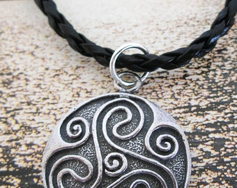 Antique Pewter  Celtic TRISKELION Pendant  Black Braided Leather  IRISH Necklace