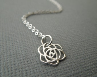 delicate silver flower, dainty sterling silver necklace, tiny rose, small flower, flower pendant, everyday necklace, layering necklace