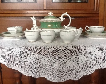 Antique Victorian teapot and  tea and coffee set - birds and butterflies Minton style