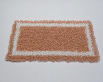 Miniature dollhouse rug plush peach and cream