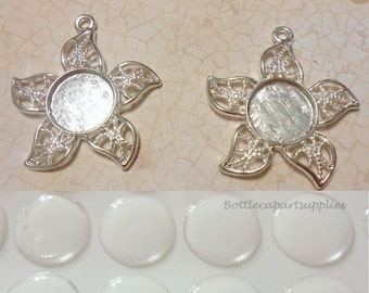 10 pcs 12mm Blank Star Flower Charms Kit . Comes with 10 pcs 12mm Epoxy Sticker Seals