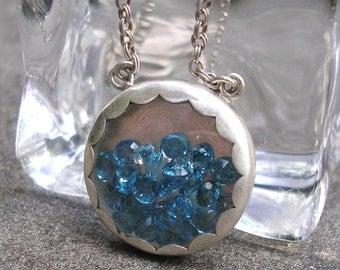 Blue Topaz Necklace - Gem Shaker Necklace - Topaz Silver Necklace - Blue Topaz Sterling - Shaker Necklace -London Bue Topaz Silver Pendant
