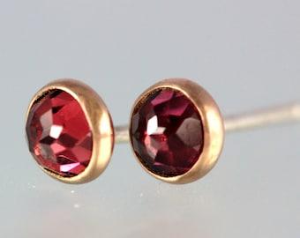 Garnet Studs - Rose Cut Garnet 14 Kt Rose Gold Studs - Rose Cut Garnet Gold Studs - Rhodolite Garnet Rose Gold Post Earrings - Pink Garnet