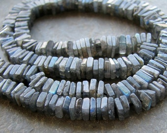 Labradorite Heishi Beads - Smooth Square Flat Cube Heishi - FULL 16 inch strand - 4.5mm Beads (11w24)