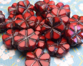 Carmine Red Glass Flower Beads 9mm - 8pc