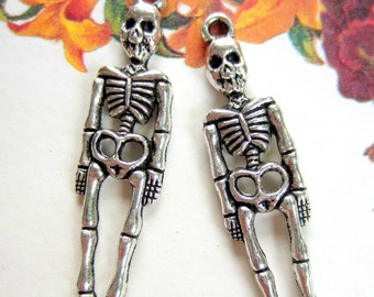 10 Skeleton charms day of the dead skull pendants antique silver jewelry pendants halloween zombie skeleton 39mm x 19mm S641