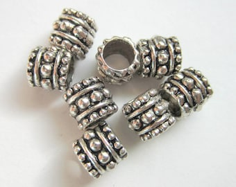 24 Silver Beads Large hole beads antique silver jewelry making spacer beads 7mm no lead no nickle B644