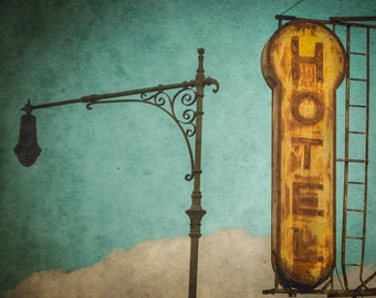 Hotel Sign Photo Vintage Motel Retro Photograph Antique Americana Teal Blue Green Brown Tan oth38