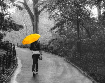 New York Photograph Central Park Photo Spring Rain nyc Manhattan Yellow Umbrella Black and White Feminine nyc60