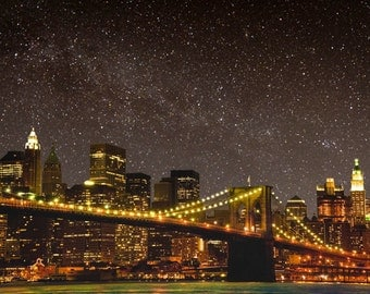 Brooklyn Bridge Print, Nyc Photograph New York Photography Manhattan Photo Skyline Night Stars City Night nyc68