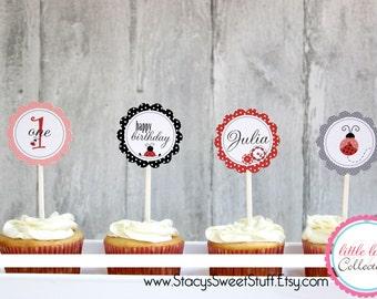 Ladybug Cupcake Toppers, DIY, Printable