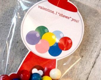 Gumball Machine Valentine, Gum Valentine, Bubblegum Valentine, Printable Valentine, Classroom Valentine, School Valentine, INSTANT DOWNLOAD