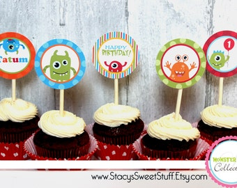 Monster Birthday Cupcake Toppers, DIY, Printable