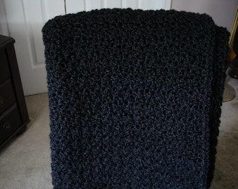 Black Afghan Throw Blanket