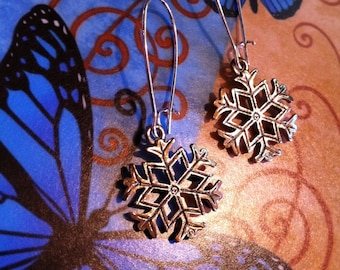 Stunning Silver Snowflake Earrings on fancy french wires by Lauri Jon Studio City