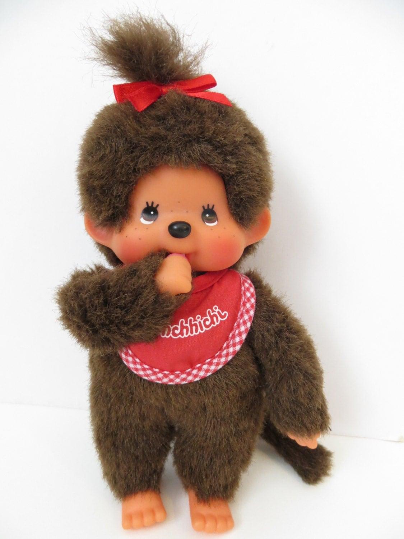Vintage Monchichi Sckiguchi Baby Girl with Bib Monkey Doll