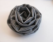 Black White  Check Flower Brooch Pin Fall Accessory Women