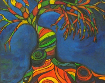 Twisted Sista- Original Whimsical Colorful Tree Print
