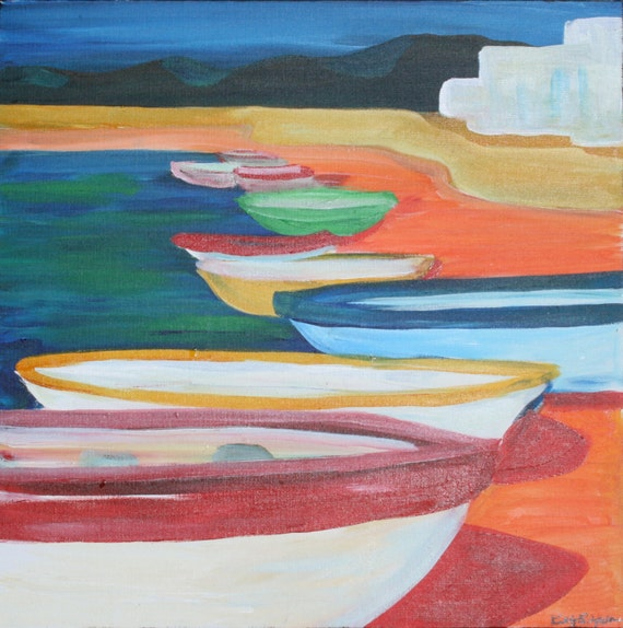 Colorful Boats In Baja- Abstract Contemporary Original ACRYLIC PAINTING PRINT by Kelly Simpson