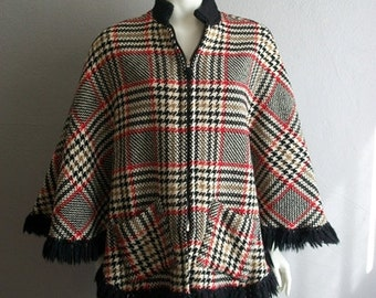 60s MOD wool TWEED CAPE size medium