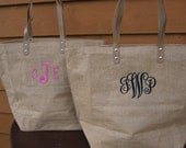 Personalized Natural Jute Tote Bag Bridesmaids Gift Monogrammed