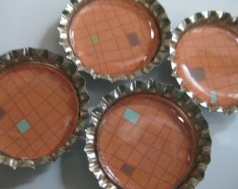 Orange Gridlock Patterned Bottlecap Magnets - Set of 4