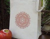 Recycled cotton lunch bag - Canvas lunch bag - Mandala