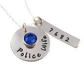 Police Wife Sterling Silver Hand Stamped Necklace in Designer Font
