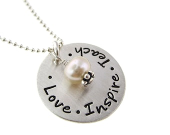 Hand Stamped Jewelry - Teacher Appreciation Necklace - Personalized Sterling Silver Necklace with Freshwater Pearl