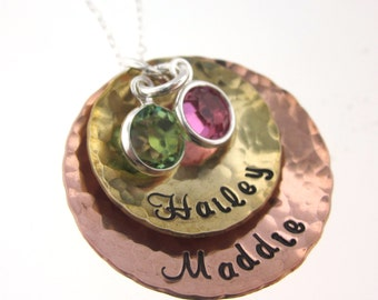 Two Textured Multi Metal Charms with Birthstones - Personalized Jewelry