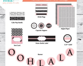 Parisian Printable Party Collection - INSTANT DOWNLOAD