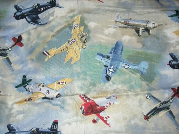 Vintage airplane fabric 3 4 yd cotton cranston village for Airplane print cotton fabric