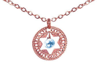 Jewish Star necklace, Star of David, Rose Gold necklace, Turquoise necklace, Judaica jewelry, Unique Jewish jewelry, Jewish wedding
