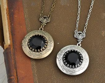 silver locket necklace, vintage jet black glass jeweled locket necklace, DARK VICTORIAN
