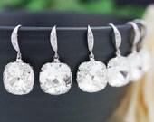 10% OFF SET of 5 Wedding Jewelry Bridal Earrings Bridesmaid Earrings Dangle Earrings Clear White Swarovski Crystal Square drops