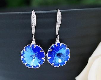 Wedding Jewelry Bridesmaid Jewelry Bridal Earrings Bridesmaid Earrings Dangle Earrings Sapphire Blue Swarovski round Crystal drop Earrings